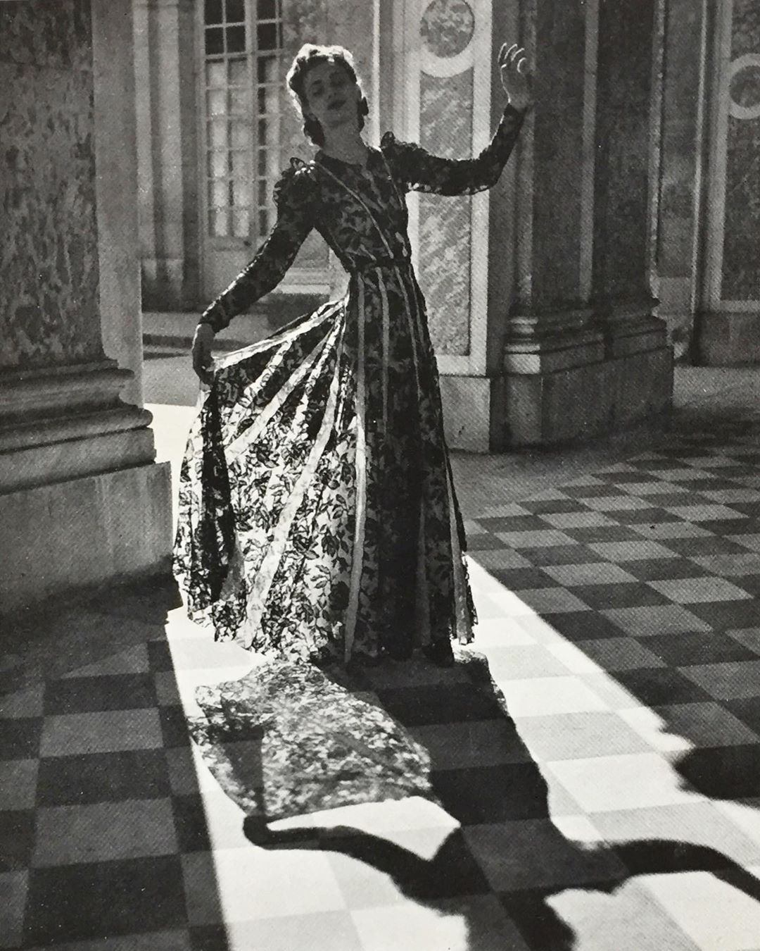 Love the intricate lace work on this organdi dress from Paquin designed by Ana de Pombo photographed by Roger Schall published in Vogue